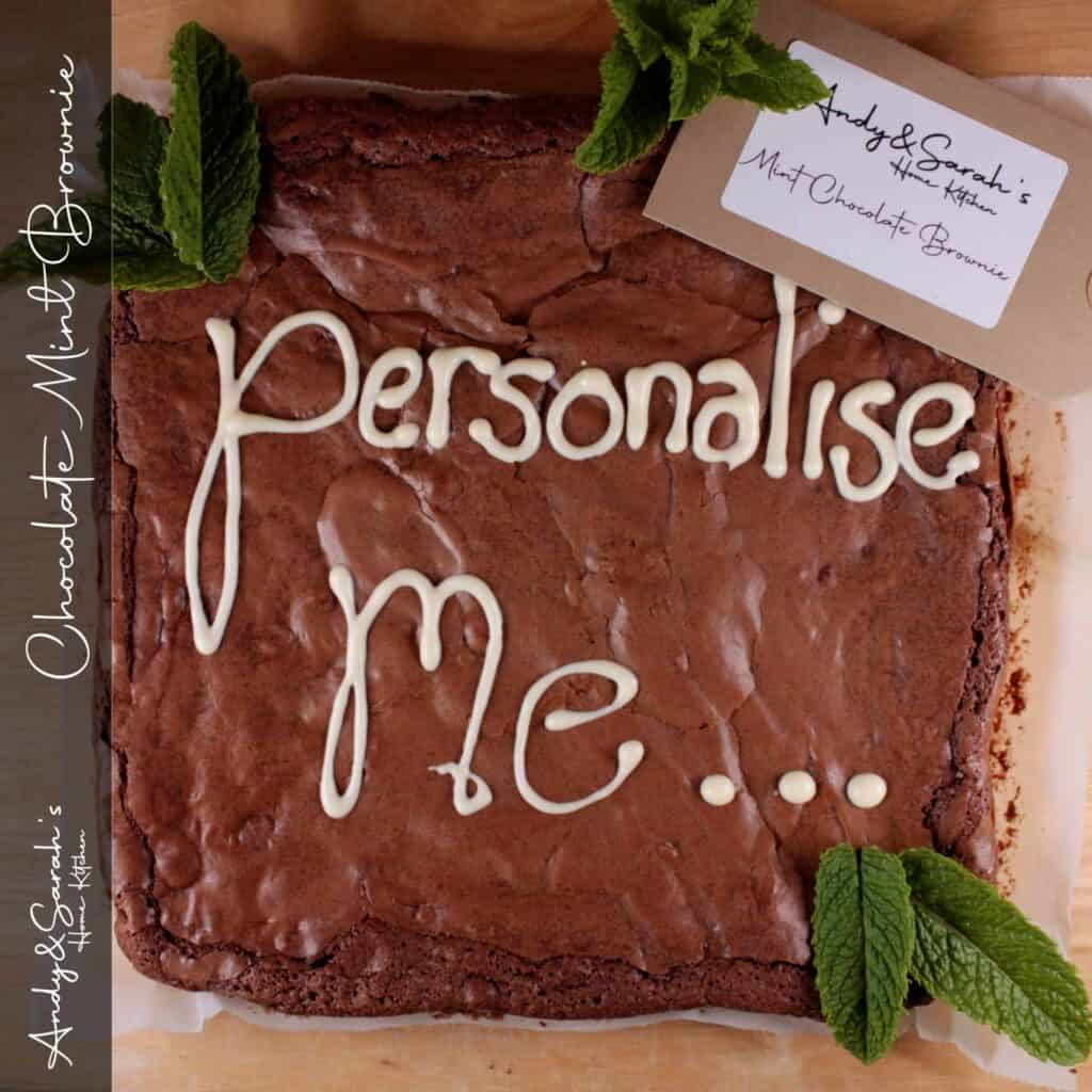 chocolate mint brownie uk delivery andy and sarahs home kitchen personalised giant brownies