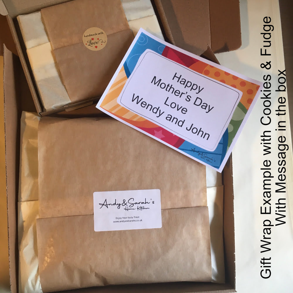 Gift wrap example personalised giant cookie and handmade fudge