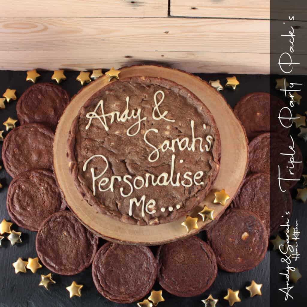 triple chocolate giant cookie with small cookie favours party cookies uk delivery