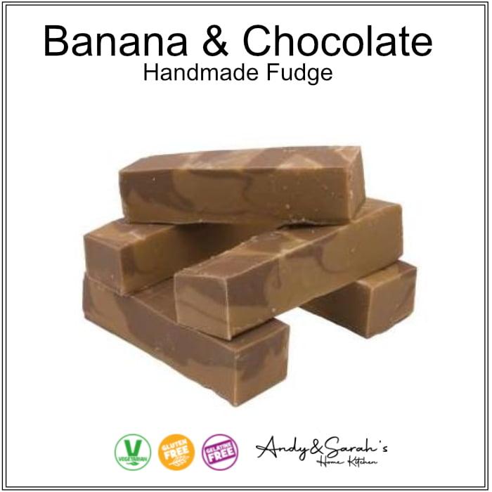 uk handmade fresh premium fudge banana and chosolate