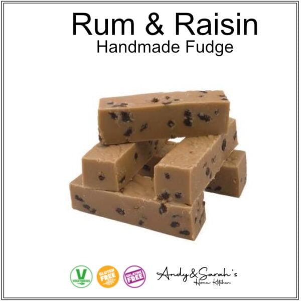 Rum and Raisin Hand made fudge uk